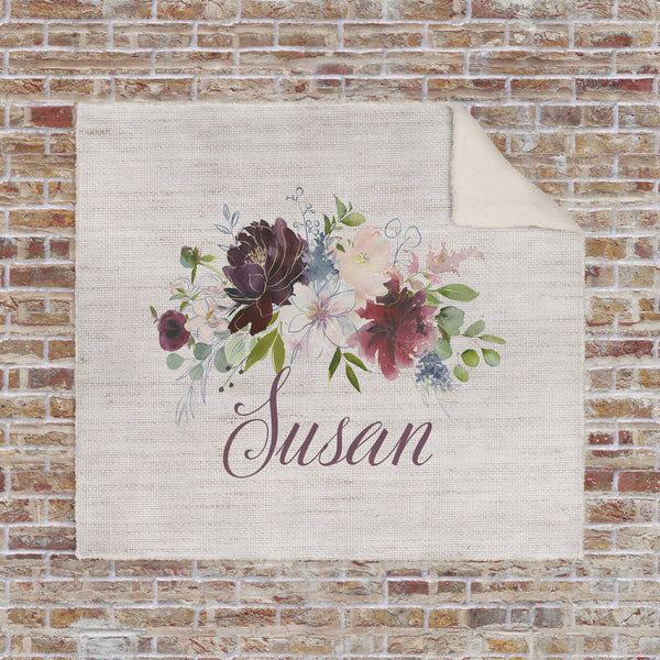 Custom Name Personalized Blanket with Watercolor Floral Super Soft Sherpa Lined Christmas Gift Mother's Day Anniversary Gift Birthday - Heartland Canvas and Signs