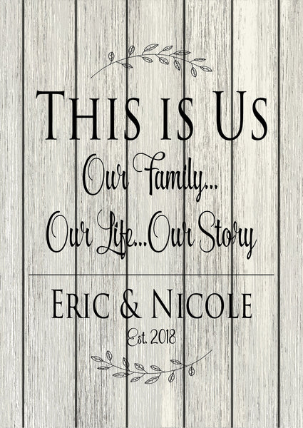 Custom Name Established This Is Us Our Family Our Story Our Home Rustic Wood Sign Canvas Wall Art Wedding  Anniversary Gift  Housewarming - Heartland Canvas and Signs