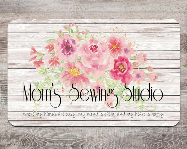 Moms' Sewing Stuido Custom Name Creative Mat Scrapbooking Quilting Sewing Room Decor Mother's Day Gift Christmas Secret Santa Aunt - Heartland Canvas and Signs