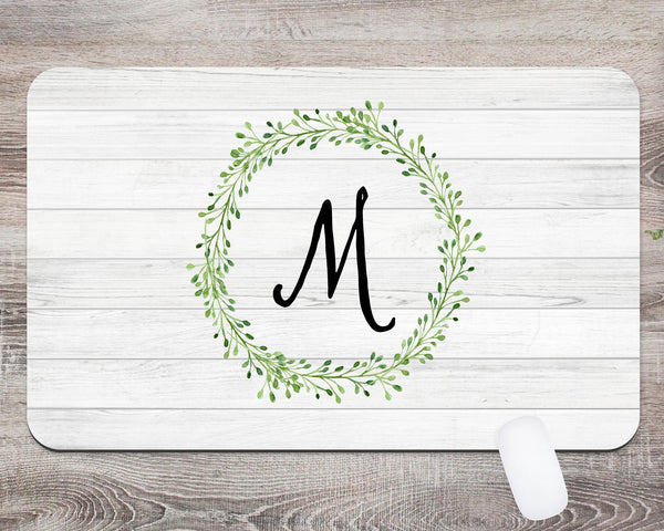 Monogram Wreath Desk Mat  Desk Blotter  Custom Desk Mat  Teacher Gift  Dorm Room Decor  Monogram Desk Pad  Personalized Desk  Office Gift - Heartland Canvas and Signs
