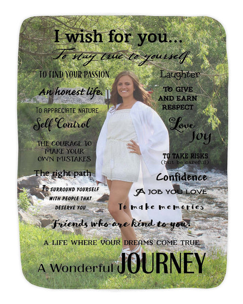 Custom Photo Class of 2019 Senior 2019 I Wish For Your My Wish Inspirational Blanket Soft Fleece Sherpa Blanket Christmas  Graduation Dorm - Heartland Canvas and Signs