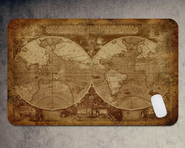 Vintage World Map  Custom Desk Mat  Teacher Gift  Dorm Room Decor  Monogram Desk Pad  Personalized Desk  Office Gift - Heartland Canvas and Signs