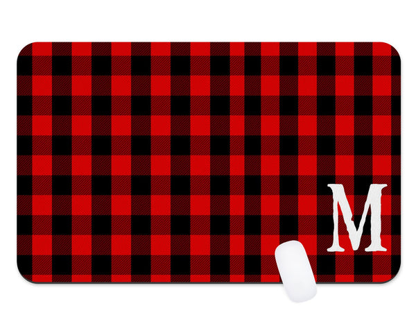Red Buffalo Plaid Guy Male Monogram Custom Desk Mat Teacher Gift  Dorm Room Decor  Monogram Desk Pad  Personalized Desk  Office Gift - Heartland Canvas and Signs