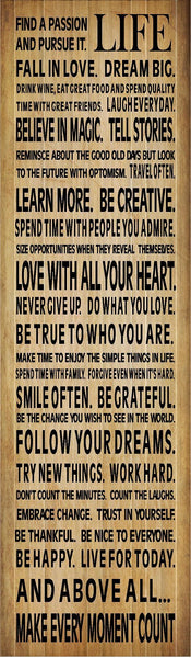Make Life Count Love With All Your Heart Be Grateful Never Gift Up Inspirational Wood Sign Canvas Wall Art - Heartland Canvas and Signs