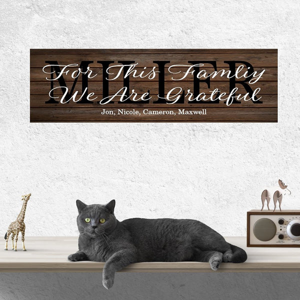 Family Name Sign For This Family We Are Grateful Rustic Wood Sign or Canvas Wall Hanging   Wedding  Anniversary Gift  Housewarming - Heartland Canvas and Signs