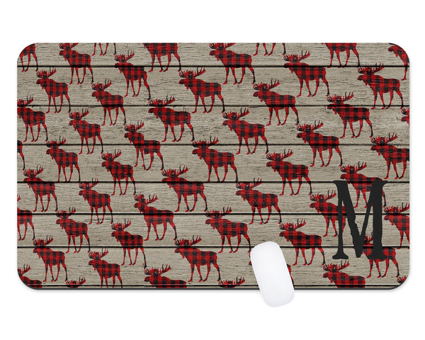 Moose Theme Northwoods Desk Mat Gift For Him Male Monogram Teacher Gift  Dorm Room Decor  Monogram Desk Pad  Personalized Desk  Office Gift - Heartland Canvas and Signs