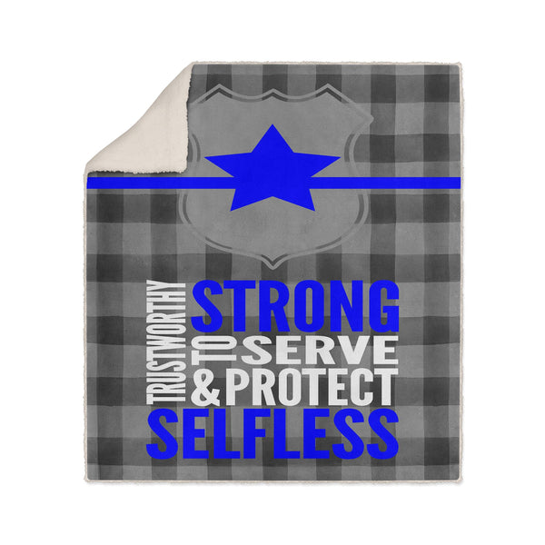 Police Buffalo Gray Plaid Blanket Gift for Police Officer Family Dad Academy Graduate Thin Blue Line Gift - Heartland Canvas and Signs