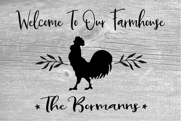 Farmhouse Name Welcome To Our Farmhouse Wood Sign Canvas Art - Heartland Canvas and Signs