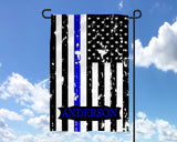 Police State Trooper Name Garden Flag Thin Blue Line - Back The Blue - LEO - Yard Flag - Father's Day - Heartland Canvas and Signs