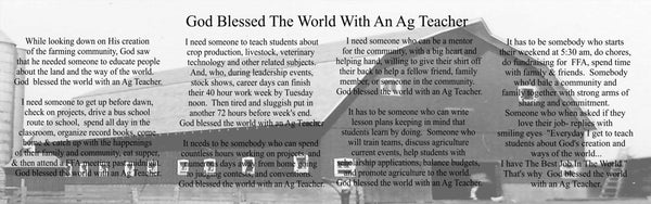 God Blessed The World With An Ag Teacher - Heartland Canvas and Signs