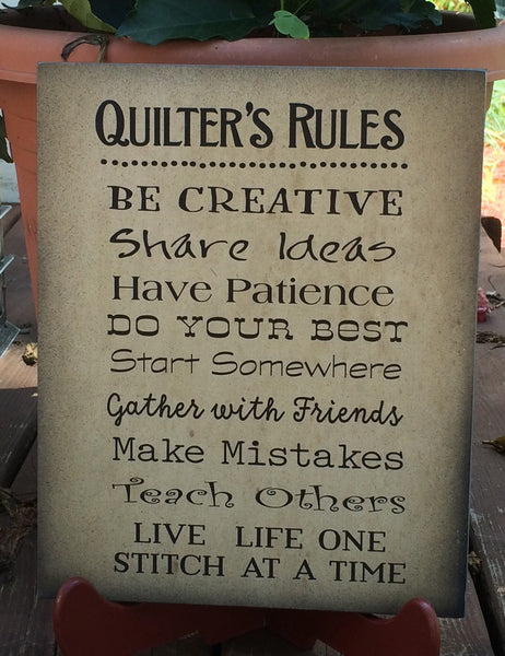 Quilters Rules Wood Sign - Great Sign for Quilters...Christmas - Heartland Canvas and Signs