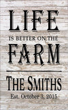 Custom Name Life is better on the Farm Large Wood Sign, Canvas Wall Hanging, - Wedding, Christmas, Father's Day - Heartland Canvas and Signs