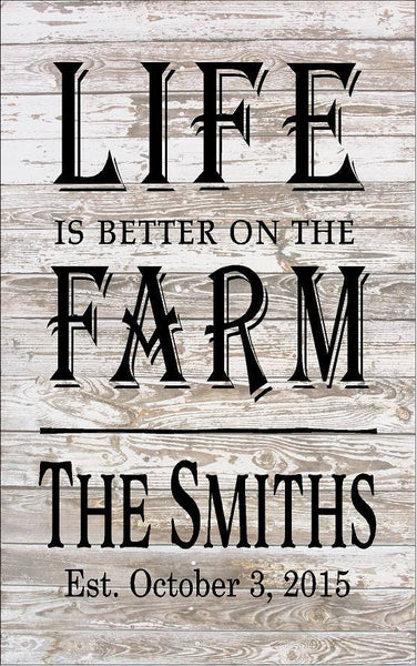 Custom Name Life is better on the Farm - Heartland Canvas and Signs