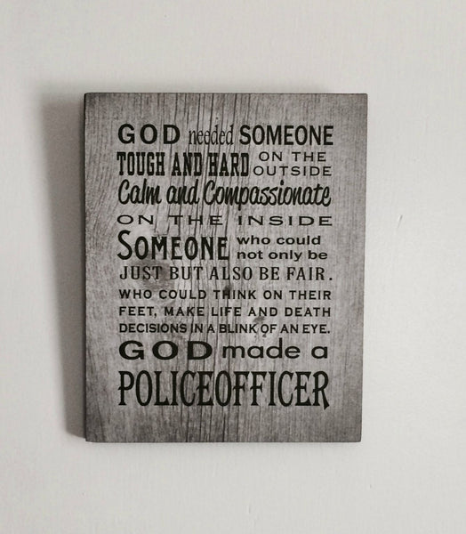 Father's Day Gift God Made Police Officer Wood Sign, Canvas, Photo Clip Frame Thin Blue Line, Law Enforcement, Police, Christmas, Graduation - Heartland Canvas and Signs