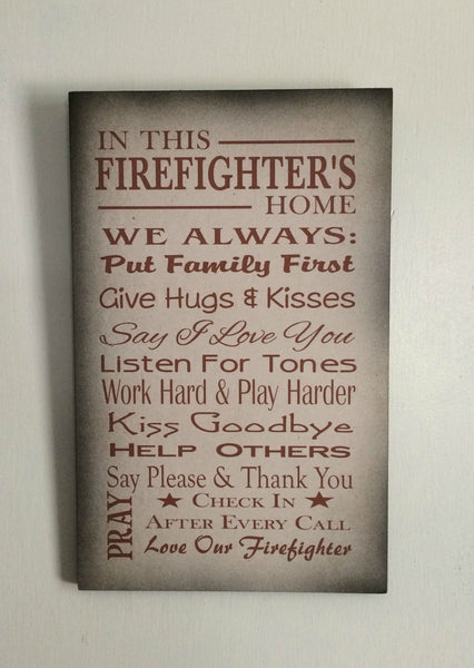 In This Firefighter's Home Family Rules Wood Sign, Canvas Wall Hanging - Christmas, Father's Day - Heartland Canvas and Signs