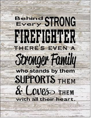 Behind Every Firefighter Family Loves Them Large Wood Sign, Canvas Wall Art, or Canvas Banner - Christmas, Father's Day - Heartland Canvas and Signs