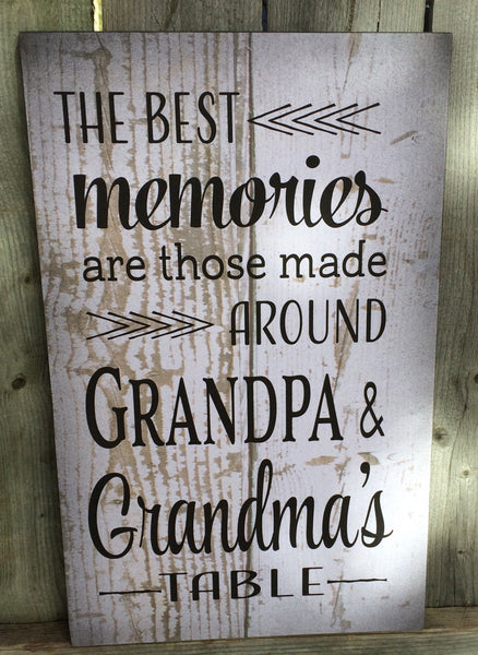 Best Memories Grandma & Grandpa's Wood Sign, Canvas Wall Art, or Canvas Banner - Christmas, Birthday, Mother's Day, Anniversary, Gift - Heartland Canvas and Signs