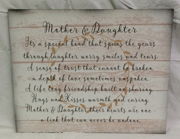Mother Daughter Wood Sign or Canvas Wall Hanging - White Pallet - Christmas, Mother's Day, Birthday, Inspirational Design - Heartland Canvas and Signs