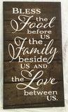 Bless the Food Before Us The Family Beside Us and the Love between Us - Heartland Canvas and Signs
