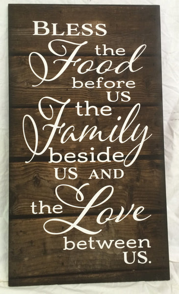 Bless the Food Before Us The Family Beside Us and the Love between Us Wood Sign Canvas Wall Art Thanksgiving Christmas - Heartland Canvas and Signs