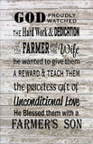 God Blessed the Farmer & Wife with A Son Wood Sign or Canvas Wall Hanging - Christmas Gift - Heartland Canvas and Signs