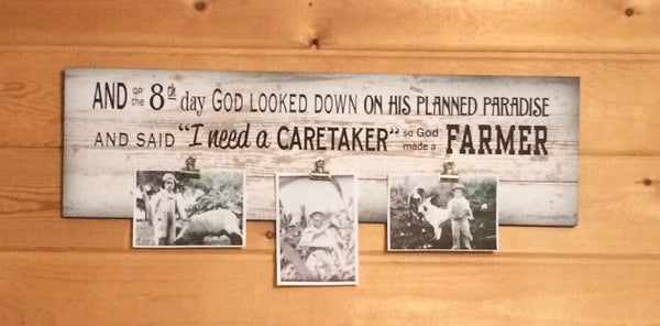 And on 8th Day God Made A Farmer Photo Clip Frame - Christmas, Father's Day, FFA, Paul Harvey - Heartland Canvas and Signs