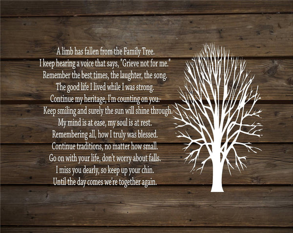 A Limb Has Fallen From Our Family Tree - Heartland Canvas and Signs