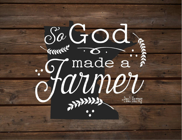 Minnesota So God Made A Farmer State Silhoutte Wood Signs or Canvas Wall Hanging Paul Harvey Housewarming Farm, Christmas, Father's Day Gift - Heartland Canvas and Signs