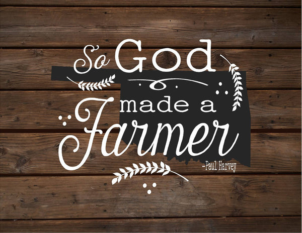 Oklahoma So God Made A Farmer State Silhoutte Wood Signs Canvas Wall Hanging Paul Harvey Housewarming Farm, Christmas, Father's Day Gift - Heartland Canvas and Signs