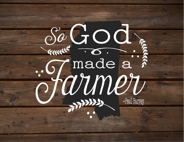 Mississippi So God Made A Farmer State Silhoutte Wood Sign Canvas Wall Hanging Paul Harvey Housewarming Farm, Christmas, Father's Day Gift - Heartland Canvas and Signs