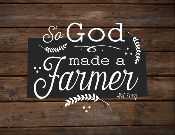 Kansas So God Made A Farmer State Silhoutte - Heartland Canvas and Signs