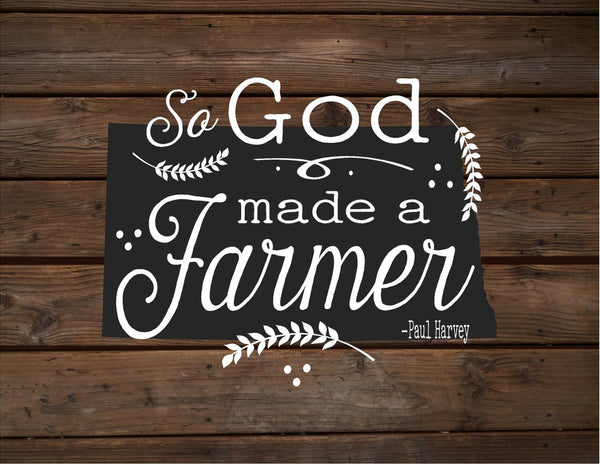 North Dakota So God Made A Farmer State Silhoutte Wood Signs Canvas Wall Hanging Paul Harvey Housewarming Farm, Christmas, Father's Day Gift - Heartland Canvas and Signs