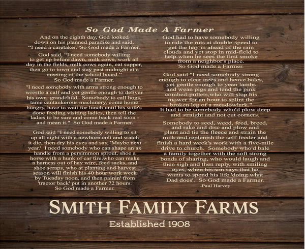 Custom Farm Name God Made A Farmer by Paul HarveyWood Sign, Canvas Wall Art - Christmas, FFA, Father's Day - Heartland Canvas and Signs