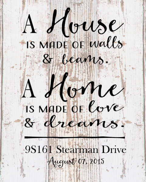 Custom Home Sign A Home Love and Dreams Address Date Wood Sign Canvas Housewarming Hostess Wedding Realtor, Christmas Gift - Heartland Canvas and Signs