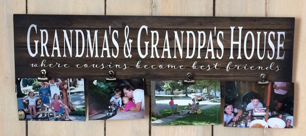 Grandma & Grandpa's House Cousins Become Best Friends Custom Photo Canvas Photo Clip Frame Wood Sign Christmas, Mother's Day, Valentines - Heartland Canvas and Signs