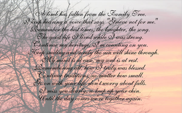 A Limb Has Fallen From Our Family Tree Beautiful Sunrise  Wood Sign Canvas Wall Art Sympathy Gift, Christmas Gift, Family, Parent Memorial, - Heartland Canvas and Signs
