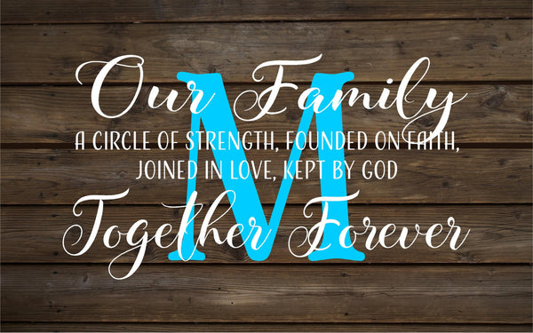 Wedding Gift Custom Name Our Family Together Forever Monogram Wood Sign or Canvas Wall Hanging - Wedding, Anniversary Gift, Housewarming - Heartland Canvas and Signs