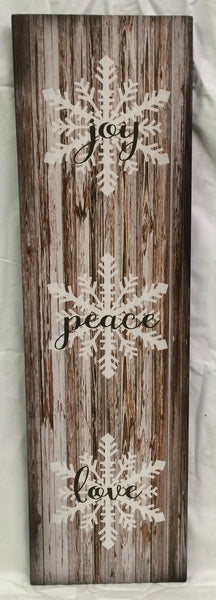 Joy Peace Love Wood Sign or Canvas Wall Art Christmas Decor - Heartland Canvas and Signs