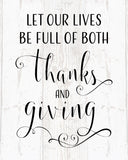 Let Our Lives Be Full of Thanks and Giving Wood Sign or Canvas Wall Decor - Thanksgiving Decor, Family Sign, Fall Decor, Kitchen Decor - Heartland Canvas and Signs
