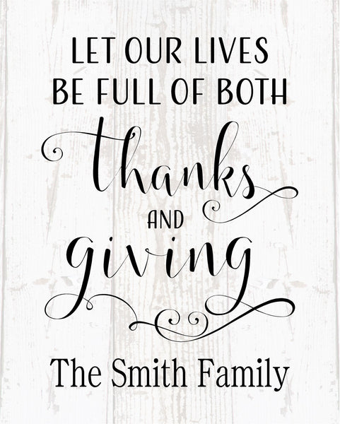 Custom Name -  Let Our Lives Be Full of Thanks and Giving Wood Sign or Canvas Wall Decor - Thanksgiving Decor, Family Sign, Fall Decor, Kitchen Decor - Heartland Canvas and Signs