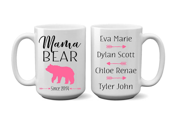 Mama Mamma Bear Est Date Children Name Coffee Mug - Christmas, Mother's Day, Mother To Be, New Mom - Heartland Canvas and Signs