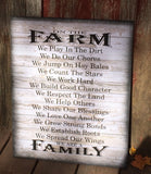 On The Farm Farm Rules Wood Sign Canvas Wall Art - Farmhouse Decor, Christmas Gift, Housewarming, Mother's Day - Heartland Canvas and Signs