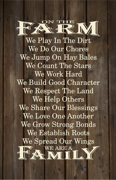 On The Farm Rules Wood Sign, Canvas Wall Art- Mother's Day, Father's Day, Christmas, Birthday - Heartland Canvas and Signs