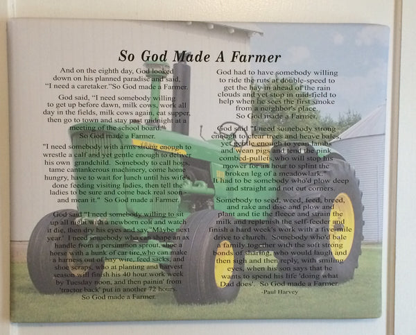 And on the 8th Day God Made A Farmer Custom Photo - Heartland Canvas and Signs