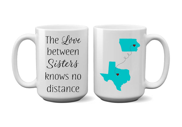 Sistes Long Distance Coffee Mug - Christmas Gift, Birthday Gift, Housewarming, Valentine's Day - Heartland Canvas and Signs