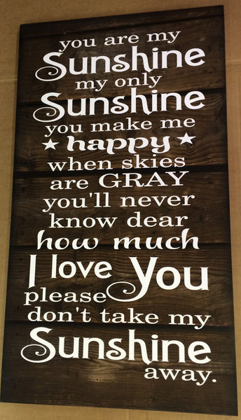 You Are My Sunshine Wood Sign, Canvas Wall Hanging - Nursery, Christmas, Baby, Child, Gift. Graduation, New Baby - Heartland Canvas and Signs