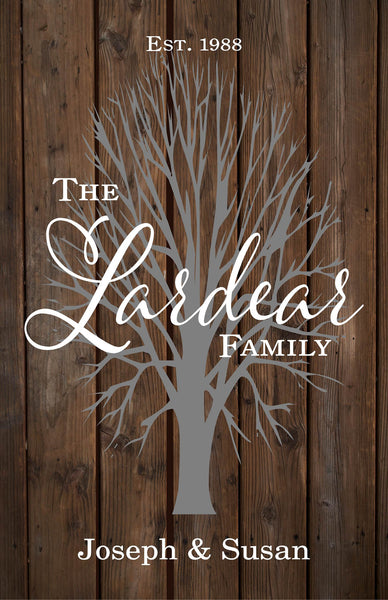 Custom Family Name Sign with Tree Wedding, Shower, Birthday, Christmas Gift - With Family Members Names, Established Date and Year, Family Name - Heartland Canvas and Signs