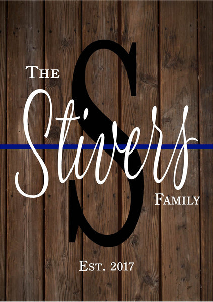 Custom Family Name Police Thin Blue Line Sign Wedding, Shower, Birthday, Christmas Gift - Simple Design - Heartland Canvas and Signs