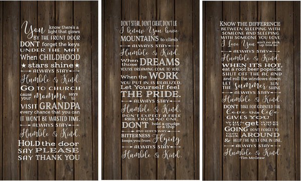 Always Stay Humble Kind Lyrics Tim McGraw Set of 3 wood signs or canvas wall art - Christmas, Birthday, Home - Heartland Canvas and Signs