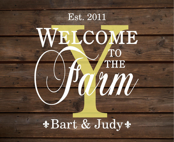 Custom Name Welcome To Our Farm Wood Sign Wedding, Shower, Birthday, Christmas Gift - With Family Members Names, Established Date and Year, Family Name - Heartland Canvas and Signs